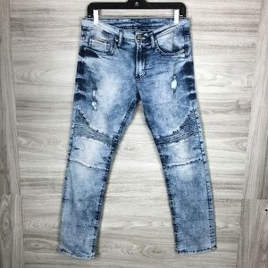 Buffalo David Bitton Blue Washed Distressed Jeans